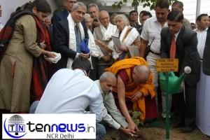 H.H Dalai Lama with Benoy K Behl planting the seeeds of Peepal Tree brought from Nalanda University
