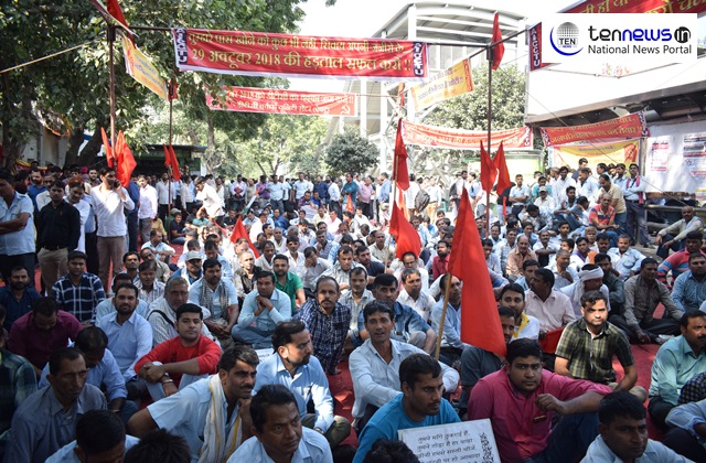Contract employees make demands, stage protest at DTC Workers' Unity Centre