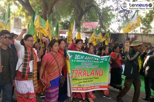 BJP's Tripura ally IPFT Stage Protest in Delhi for separate state