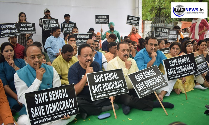 BJP holds silent protest at Jantar Mantar over violence at Amit Shah's Kolkata roadshow
