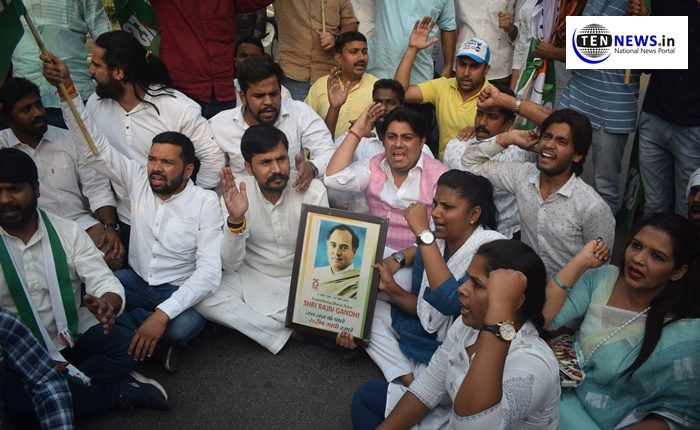 Youth Congress protest in Delhi against PM Modi's bhrashtachari no. 1 remark against Rajiv Gandhi