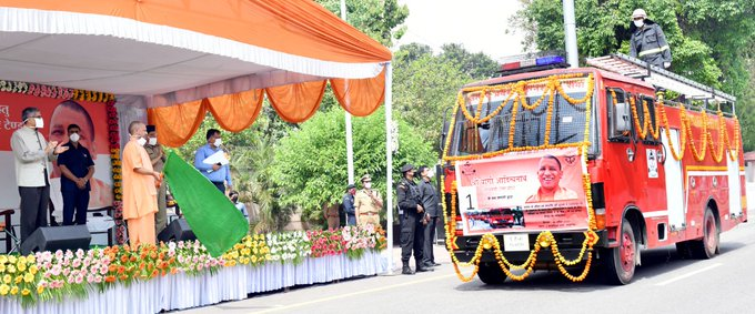 Cm-yogi-launches-66-fire-brigade-vehicles-for-sanitization