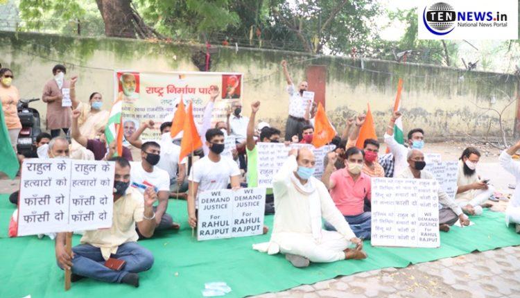 Delhi: Rashtra Nirman Party holds protest against murder of Aadarsh Nagar's bot