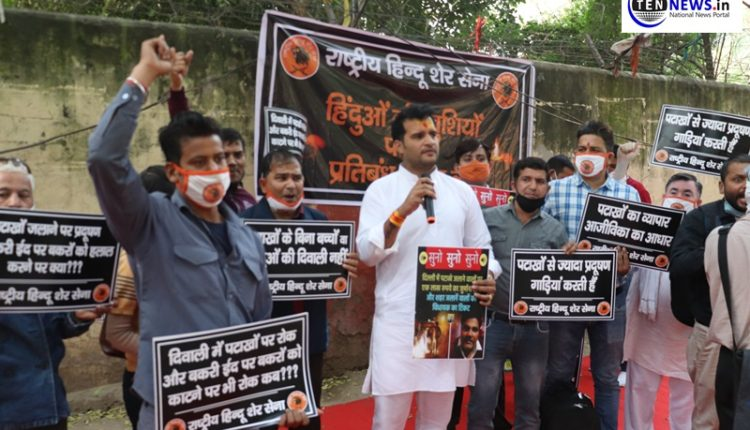 Protests in Delhi over controversial decision of banning firecrackers ahead of Diwali