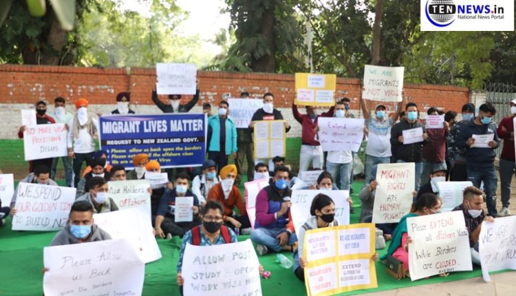 Indian students & Pros working in NZ hold protest demanding visa extension as they are stuck in India