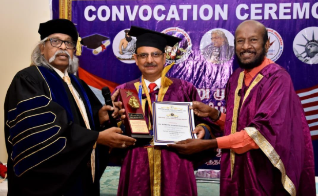 L-R  – Dr Selvin Kumar, chancellor- International Tamil University, Mr. Rakesh Kumar, Director-General- EPCH & Dr. Ravi Tamilvanan MD,  Manimekalai Pirasuram, chennai